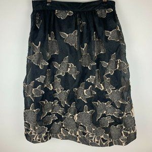H&M Womens Black Tulle Embroidered Skirt Size 10